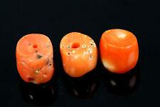 Lot of 3 pcs Ancient Yemenite Jewish bedouin Natural Coral Loose Bead 4.2grs