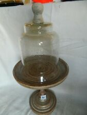 Pedestal cake cupcake cheese stand display with dome lid cover rustic look