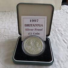1997 Plata Prueba £ 2 Britannia en Caja/cert. de autenticidad-acuñación 4173