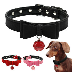 Soft Suede Leather Female Dog Collar Puppy Cat Collars & Bell Chihuahua XXS-M