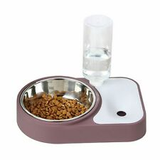 Pet Food Water Bowl Double Raised Stand Dish Feeder Fountain Drinking Dispenser