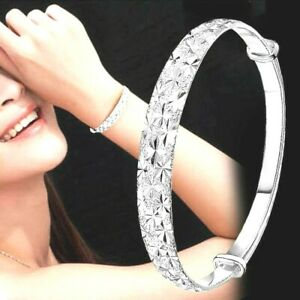 Womens 925 Sterling Silver Plated Bangle Bracelet Jewelry Elegant Gift Trendy UK