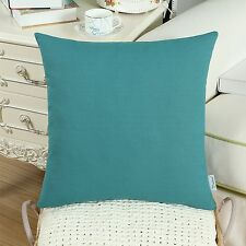 CaliTime Cushion Covers Throw Pillow Shells Cotton Canvas Solid Colors 45 X 45cm Teal