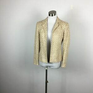 Talbots Petites 4 Blazer Jacket Tweed Beige Metallic Open Front