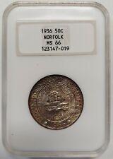 1936 Silver Norfolk Commemorative Half Dollar NGC MS66 Rich Toning    7019