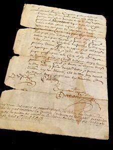 1654 Authentic Signed Manuscript