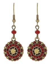 BURNISHED GOLD TONE WITH RED ACRYLIC & TOPAZ RHINESTONE ACCENTS EARRING SET