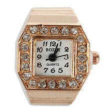 Square Dial Crystal Decor Elastic Finger Ring Watch Copper Tone DT