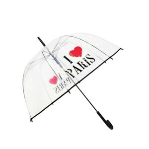 Parapluie cloche transparent I love Paris - Smati