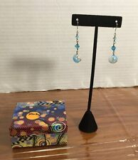 """New Hand Made Sterling Silver Turquoise Blue Glass Balls & Crystals Earrings 2"""""""