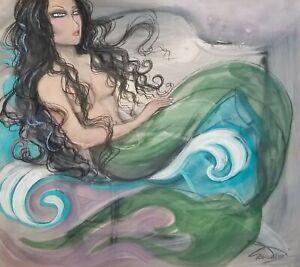 CRAMOLINI little Surf Mermaid *HUGE* real ORIG ART Painting Drawing NOT A PRINT