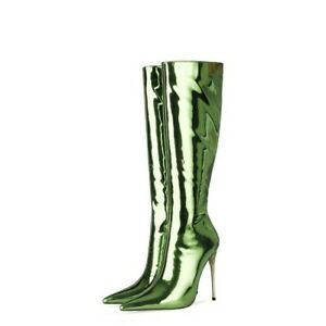 Women Solid Print Stilettos Heel Pointy Toe Party Knee High Boots Sexy 34-45 L