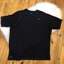 Nike Mens Sz Xl Solid Black Short Sleeve Dri-Fit Tee Shirt Euc! (Q14)