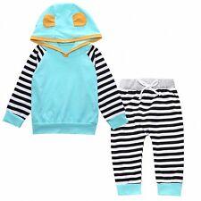 2pcs Newborn Kid Baby Boys Girls Sweatshirt Hooded Coat Tops+Pants Outfits Sets