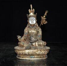 "8"" crystal Inlay Silver Filigree gem Guru Rinpoche Padmasambhava Buddha statue"