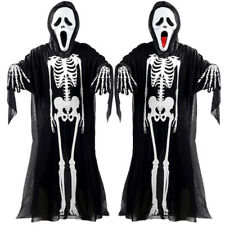 3pc/set Kid Adult Ghost Skeleton Costume Fancy Dress Mask Gloves Halloween Party