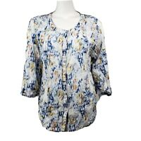 JM COLLECTION Blue Yellow White Button Down 3/4 Sleeve Womens M Medium NO TAGS
