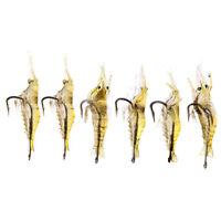 UN3F 6pcs Shrimp Fishing Simulation Soft Prawn Lure Hook Tackle Bait Lures