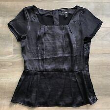 H&M Black Purple Scoop Flare Top Shirt Blouse, Button Down Back, CA 8 US 8 EU 38