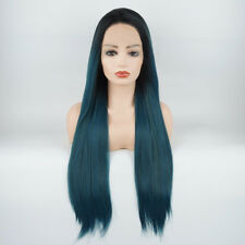 Straight Extra Long 28inch Dark Root Blue Green Mix Synthetic Lace Front Wig