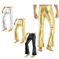 NEW Mens Metallic Long Pants Faux Learther Club Stage Bell Bottom Flare Trousers