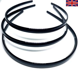 3 Black Plastic Hairbands With Gripping Teeth Thin Headbands Hair Alice Bands UK