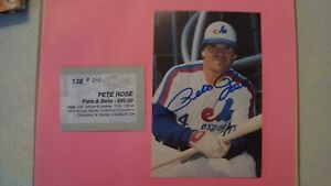 """Pete Rose 3.5"""" x 5.5"""" Photo In Person Autograph Montreal Expos Postcard"""