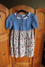 Vintage Denim & Floral Rose 1990s Girls Childrens Dress Made in USA