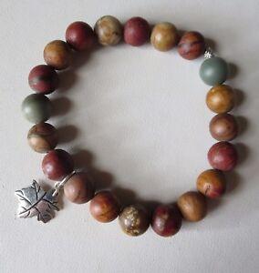 Red Creek Jasper Sterling Silver Stretch Bracelet Handmade JH Fine Bead Jewelry