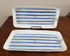 "Set of 2 Rae Dunn SAVOR Platters/Trays 13.75"" Long  Melamine Blue Stripe NEW"