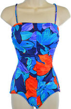 Vintage Union Made Swimsuit XS S Bathing Suit One Piece Blue Floral Pin Up USA