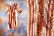 NEW $128 FREE PEOPLE striped crochet tassel lace up dress boho hippie SZ: L
