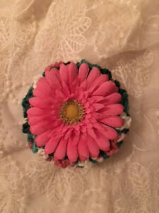 Green, Pink, and White Bun Cover Snood with Pink Flower for Up Do or Hair Tie