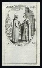 santino incisione 1600 S.BERNARDO CLAIRVAUX DONA CINTURA A S.ROBERTO  j.callot