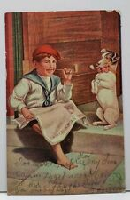 Hitting the Pipe Boy Corncob Pipe Red Beret Jack Russell Terrier Postcard F20