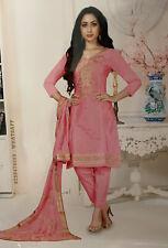 Indian Pakistani Suits Cotton Mix Pink And Golden Patiala Bottom Unstitched Suit