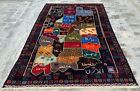 Authentic Hand Knotted Afghanistan Map Balouch Wall Hanging Wool Area Rug 6 x 4