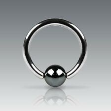 New Surgical Steel Captive Bead Ring BCR with Hematite Ball Tragus Helix Eyebrow