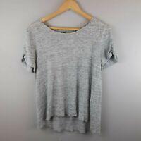 Athleta Women's Athletic T-shirt Cold Shoulder Heathered Grey Boxy Size Large