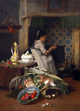 QUALITY CANVAS ART PRINT * David de Noter * Kitchen Maid with game...