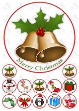 Christmas Bells 19cm PERSONALISED Edible Cake topper PLUS 12 cupcake toppers