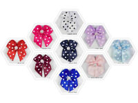 Polka Dot Satin Ribbon Bows With Single Pearl  10 Colours Pkts 15, 50, & 100