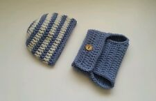 Newborn Baby Boy Striped Hat and Diaper cover Crochet infant photo prop Outfits