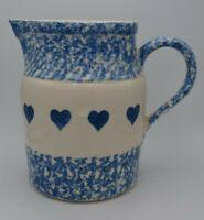 "Roseville Ransbottom Pottery Blue Spongewear w/ Hearts Pitcher 7 1/2"""