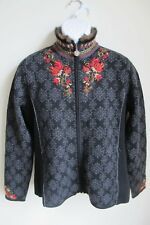 Icelandic Design black floral embroidered full zip wool sweater womens