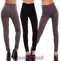 Pantaloni donna skinny elastici sigaretta zip scamosciati vita alta nuovi V2316