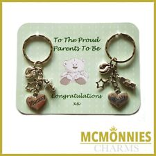 PROUD MUM DAD PARENTS TO BE PREGNANCY CHARM KEYRINGS BABY SHOWER GIFT KEY RING