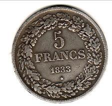 BELGIQUE LEOPOLD 1ER RARE 5  FRANCS ARGENT 1833 TTB cote 350 euro !!