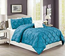 """4 Pieces Solid Turquoise Blue Pinch Pleat Duvet Cover Set KING Size 104""""X92"""""""