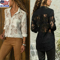 Womens Lace Mesh Tops Shirt Ladies Causal Long Sleeve Button Down T-Shirt Blouse